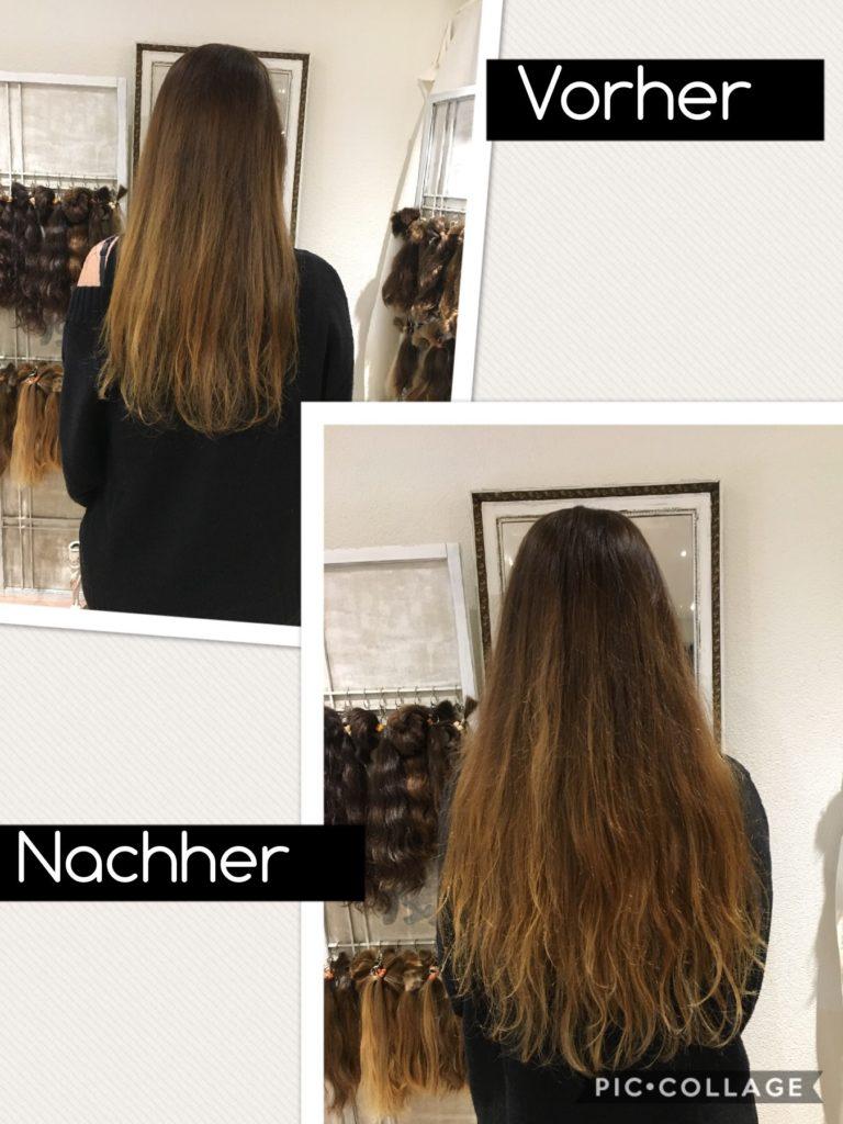 Haarverlängerung vorher nachher